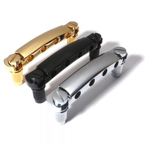 Bass guitar tailpiece 19mm string spacing chrome black gold